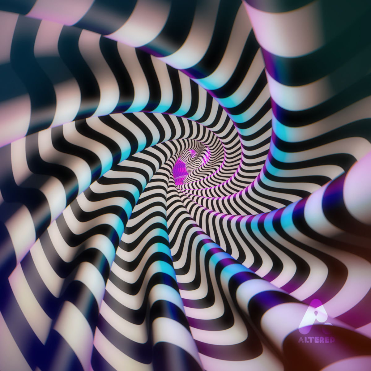 3D cg image of stripy optical illusion tube