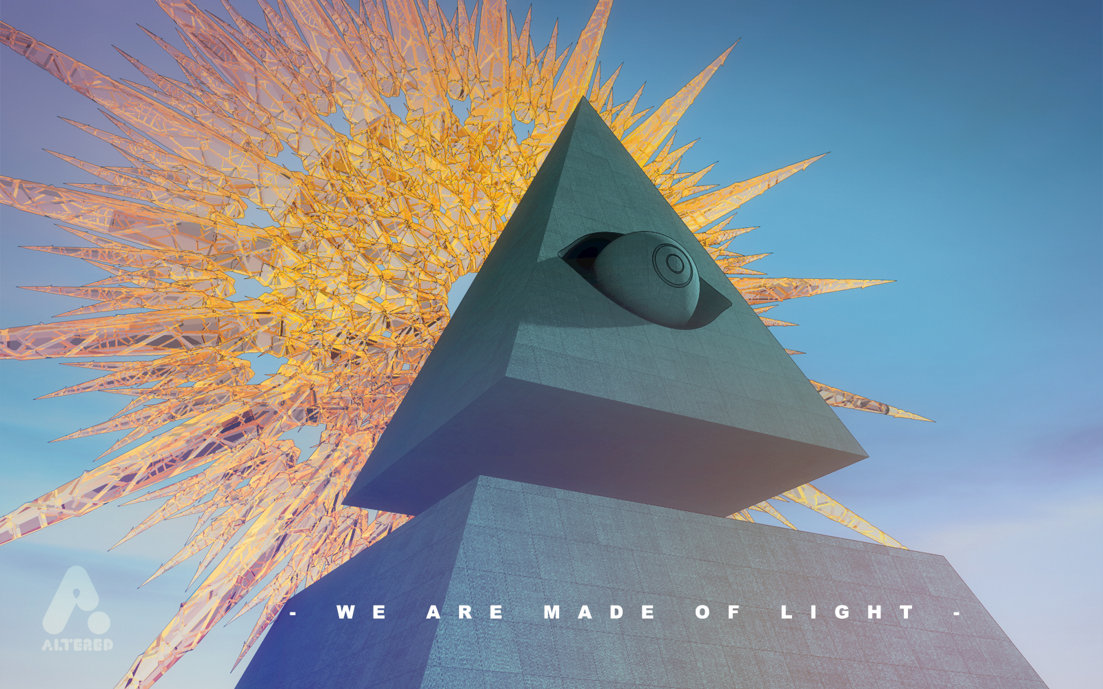 3D CG art illustration of the all seeing eye with crystal halo, design by lee robinson