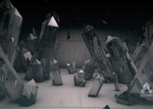 CG 3D render image of crystals in room
