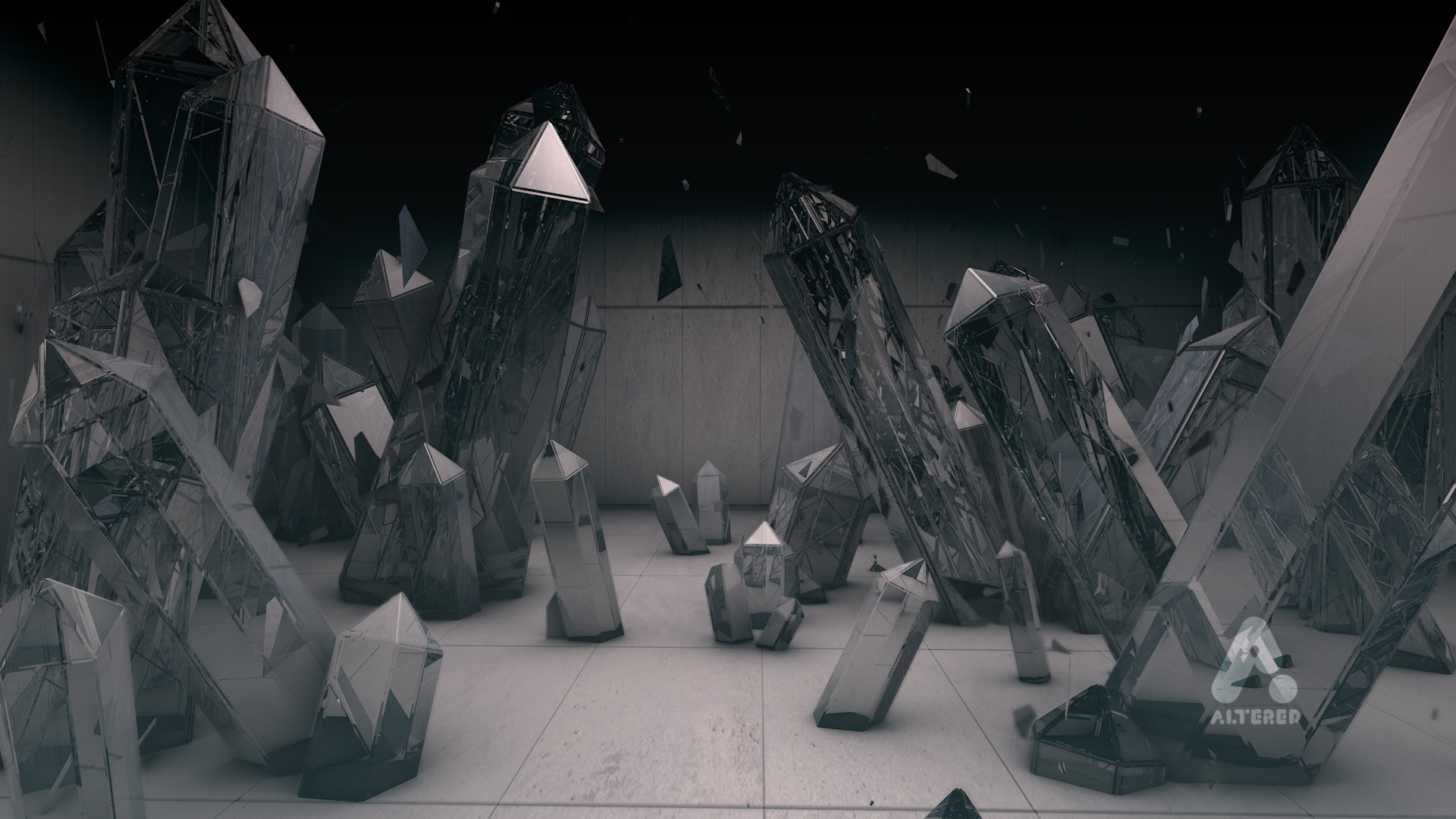 CG 3D render image of crystals in room