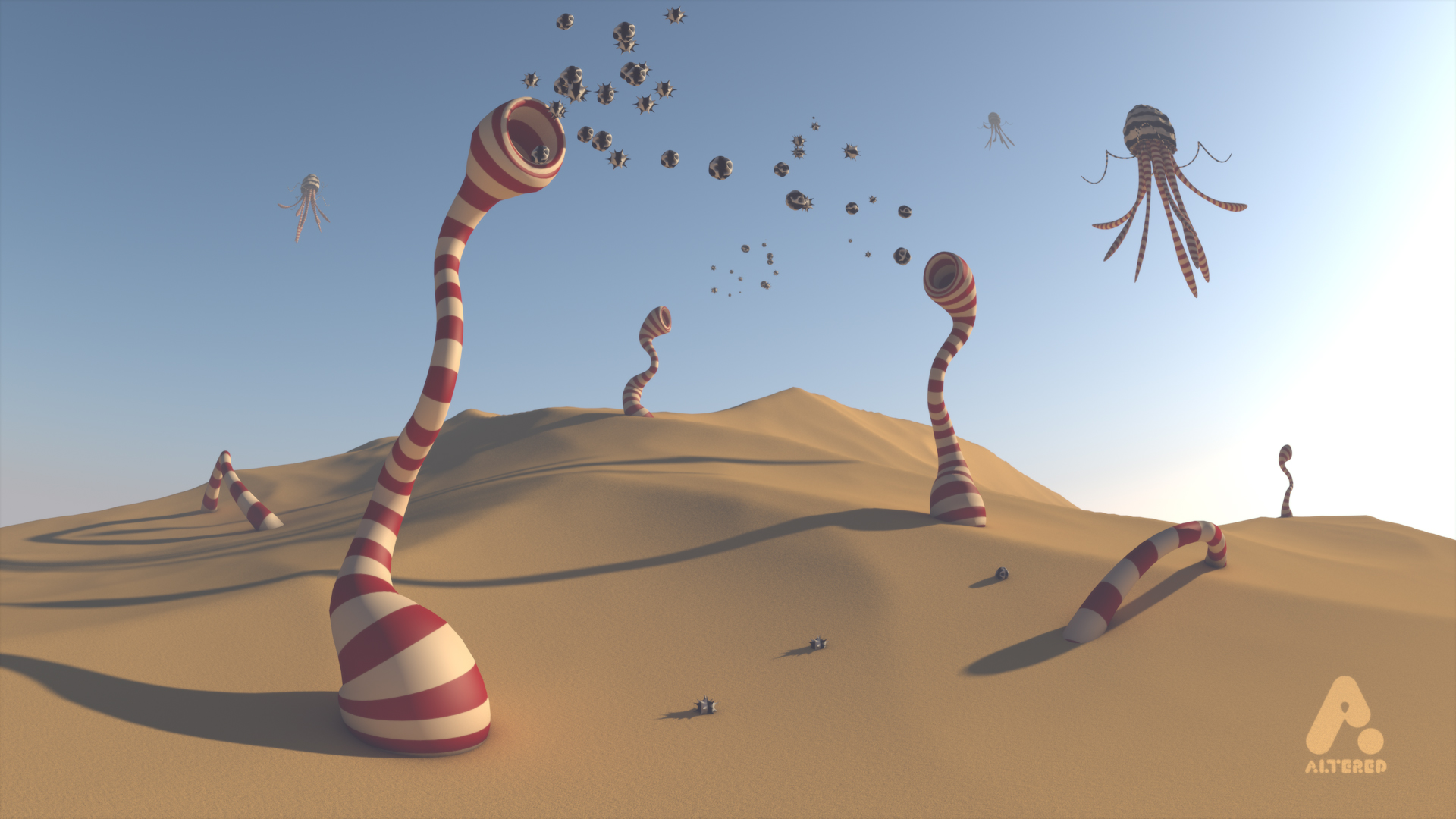 design and animation, motion graphics, freelance, altered.tv, Alien planet, Sand dunes with alien creatures