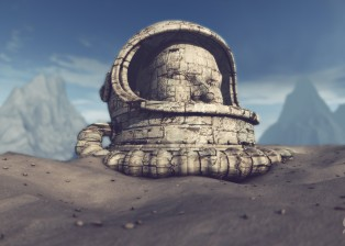 CG, 3D rendered image of Alien planet with stone head of a spaceman, Planet 42, Using Cinema 4D, After Effects and photoshop, by Lee Robinson, freelance motion graphics designer, altered.tv london, design animation