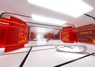 CG, 3D rendered image interior of space age building, Using Cinema 4D, After Effects and photoshop, by Lee Robinson, freelance motion graphics designer, altered.tv london, design animation