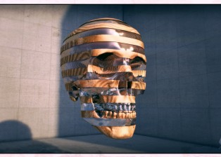 cinema 4d CG 3D rendered image of a glass an wood skull and concrete wall