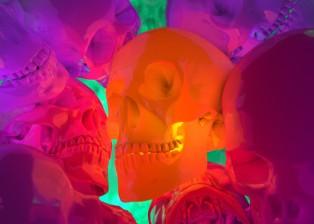 CG, 3D rendered, cinema 4d, image of bright colour skulls, by lee robinson, freelance motion graphics designer london, altered tv