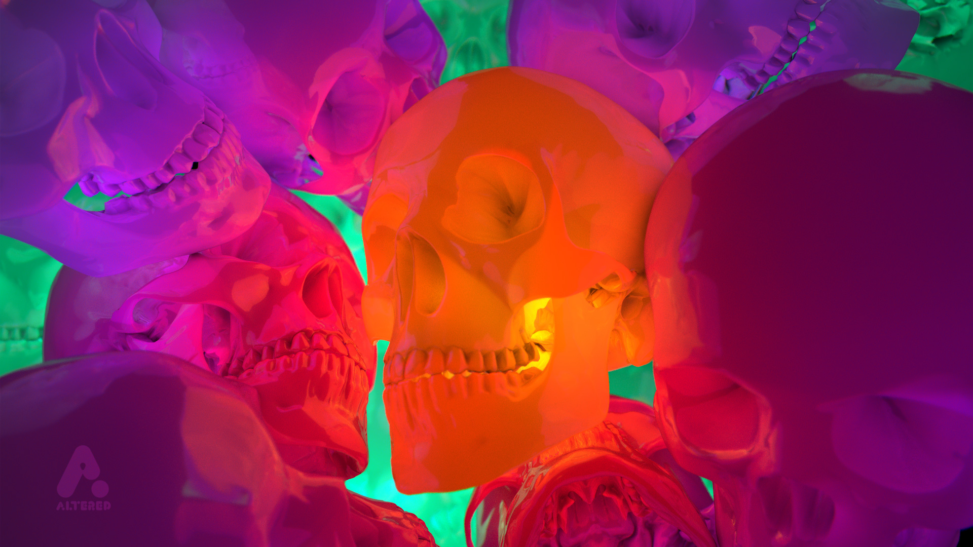 CG, 3D rendered, cinema 4d, image of bright colour skulls, by lee robinson, freelance motion graphics designer london, altered tv