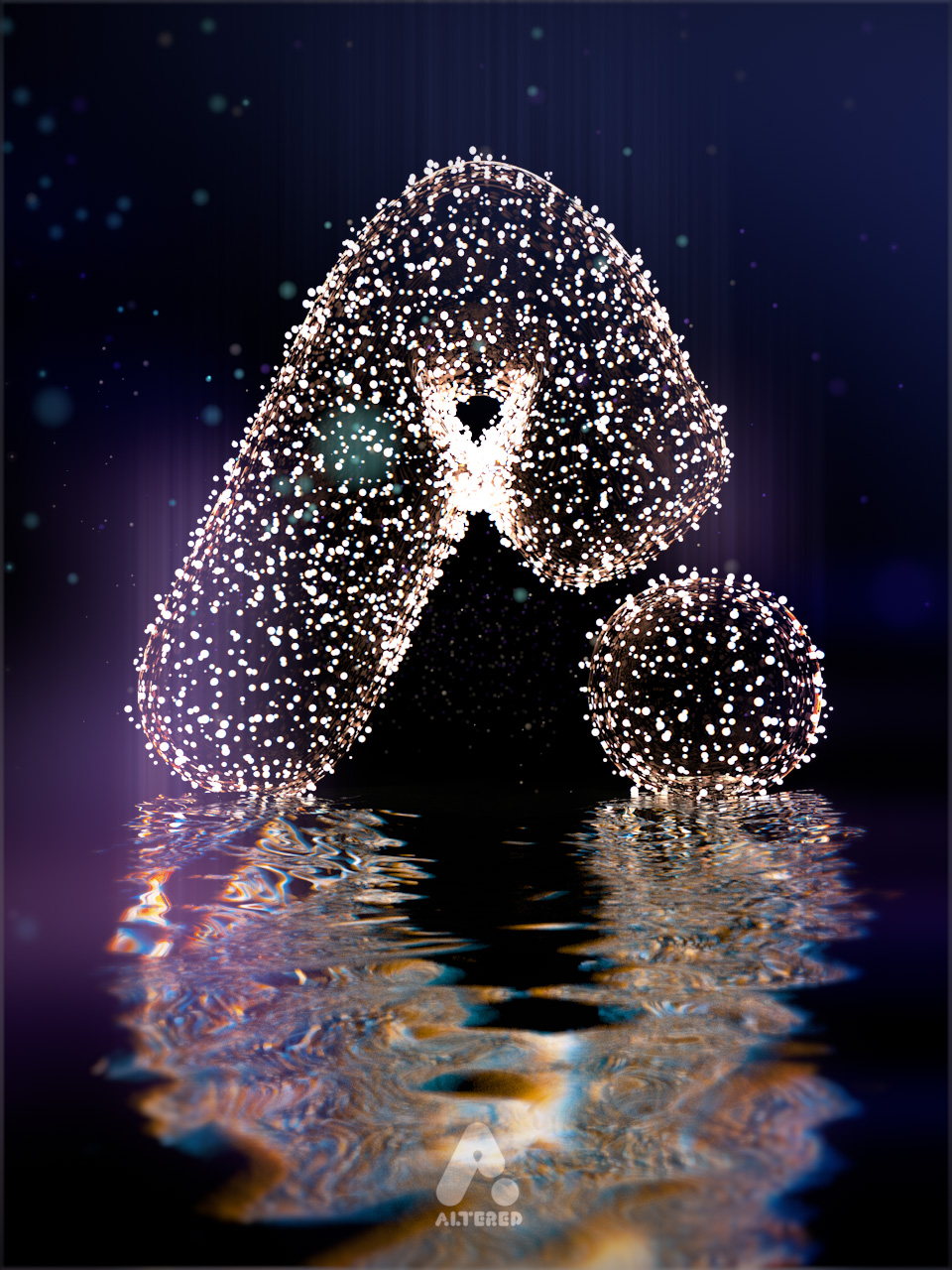 CG, 3D rendered, cinema 4d, lights reflected in water, by lee robinson, freelance motion graphics designer london, altered tv