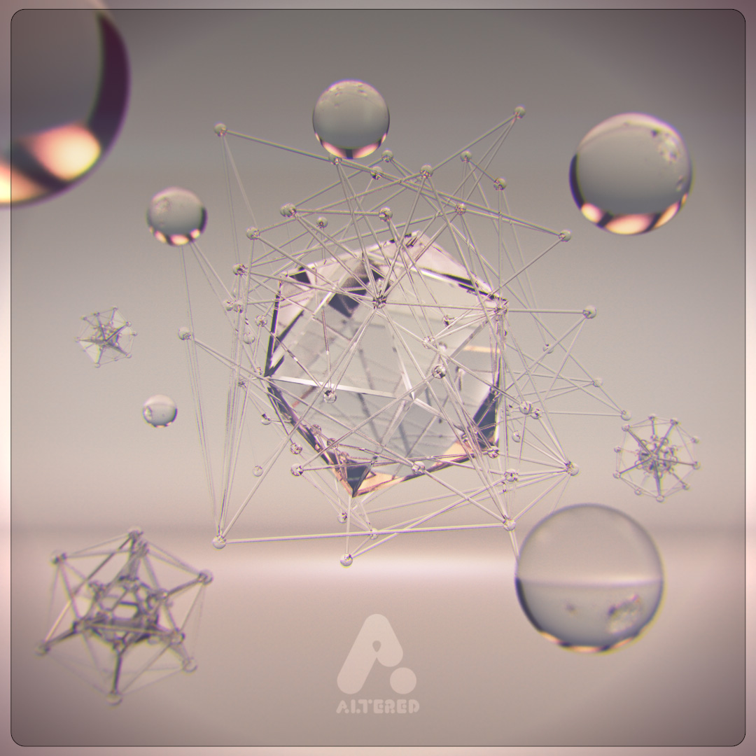 CG, 3D rendered, cinema 4d, image of crystal glass orbs and geometric shapes, by lee robinson, freelance motion graphics designer london, altered tv