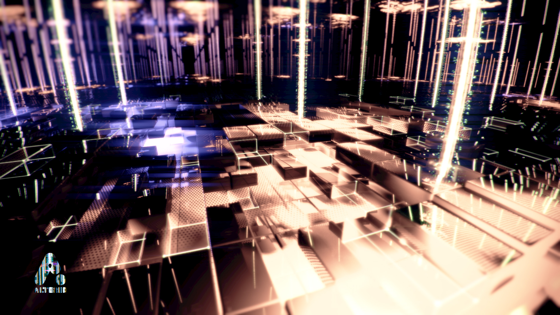 CG, 3D rendered, cinema 4d, landscape cubes sci-fi, by lee robinson, freelance motion graphics designer london, altered tv