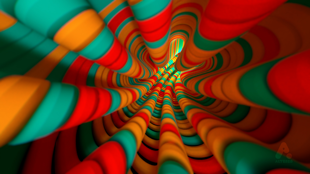 CG, 3D rendered, cinema 4d, multi coloured swirls and tunnels, by lee robinson, freelance motion graphics designer london, altered tv